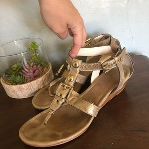 "Coach - Gold Strappy ""Viktoria"" Sandals Sm Wedge"